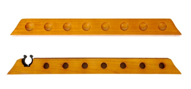 7 Cue 1 Bridge Pool Table Billiard Wall Rack Oak Finish